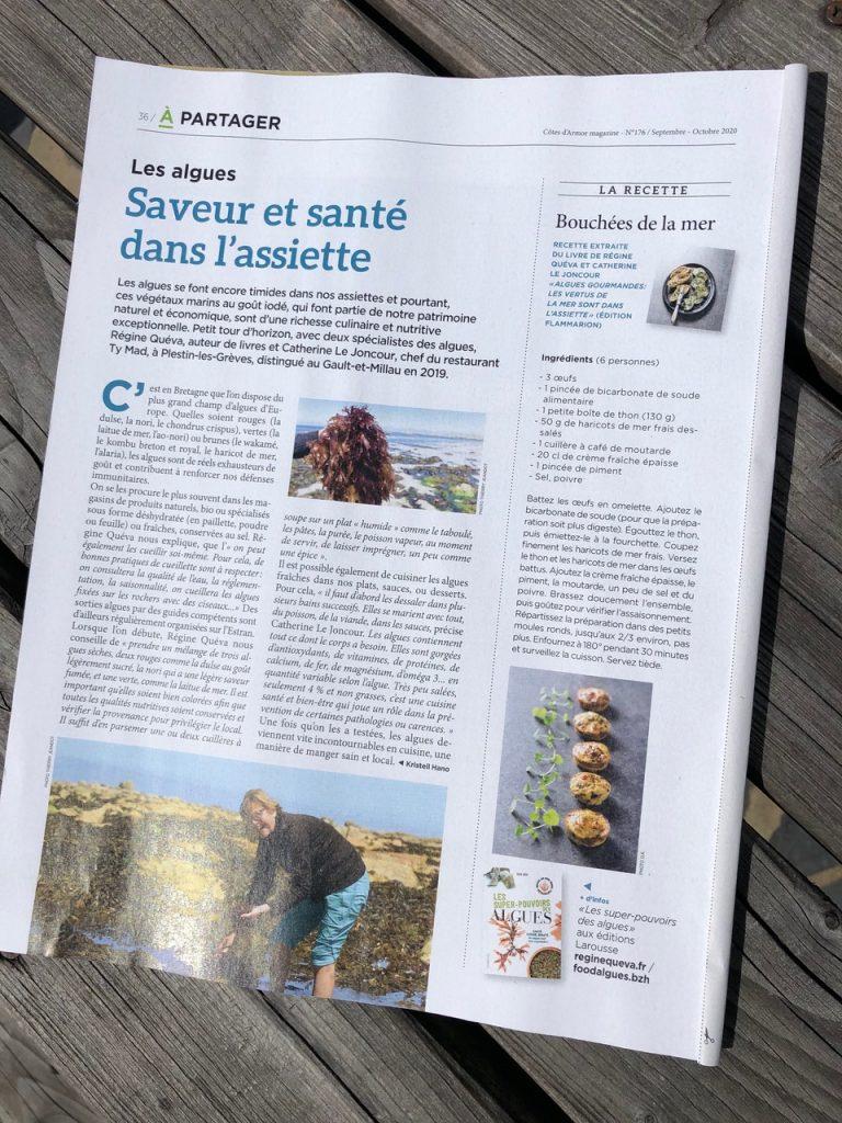 Article de Côtes d'Armor magazine septembre/octobre 2020